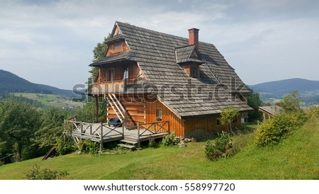 Traditional polish wooden house in mountains