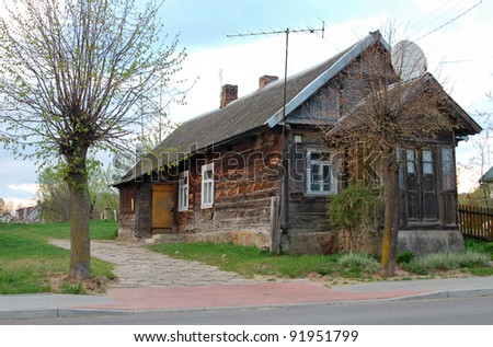 Traditional polish wooden hut.