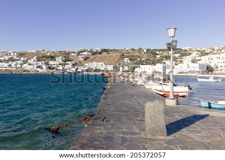 Traditional port of mykonos island,Greece