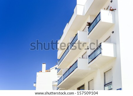 Traditional portugal vacation houses at the ocean resort - stock photo