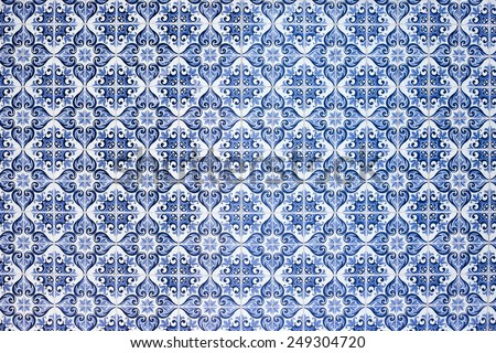 Traditional portuguese and spanish tile Azulejo  - stock photo