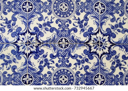 Traditional portuguese tile. Blue