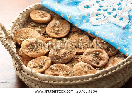 traditional portuguese way of preserve dry figs - with some aromatic herbs - stock photo
