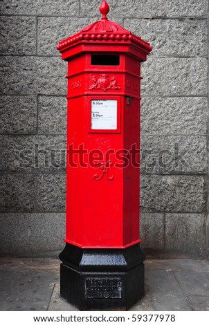 Traditional post box in London - stock photo