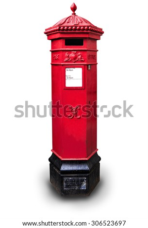 Traditional post box in London isolated on white backround