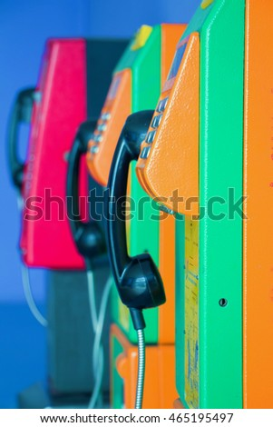 traditional public telephone using coin and card