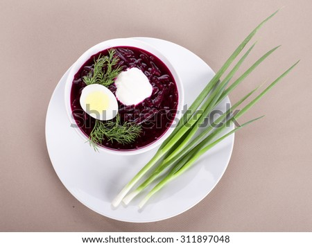 Traditional Rassian dish meal cuisine - Cold beetroot soup - stock photo