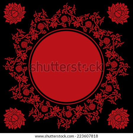 Traditional red and black Chinese lotus pattern round banner with space for text