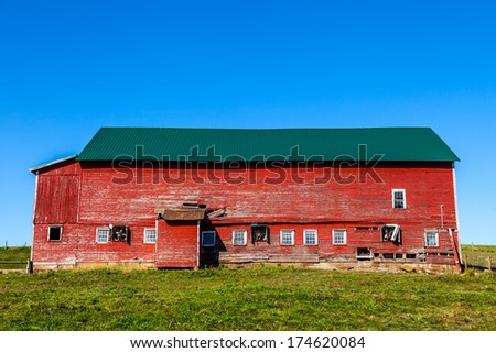 Traditional Red Barn - stock photo
