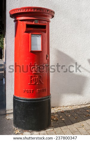 Traditional red British Post Box. Oxford, England, UK