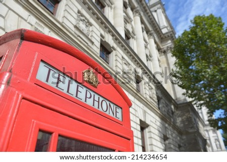 Traditional red phone box in London. - stock photo