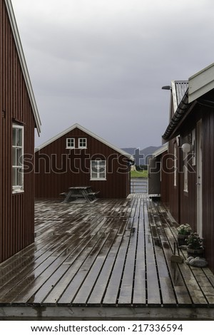 Traditional red rorbu fishing hut, Lofoten Islans, Noway