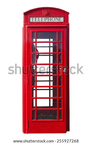 Traditional red telephone booth cut out as seen in Northern Ireland - stock photo