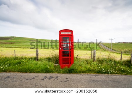 Traditional red Telephone box, Scotland, UK  - stock photo