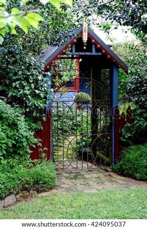 Traditional Refined Elegant Arched Gateway with  Radiant Glorious Foliage.