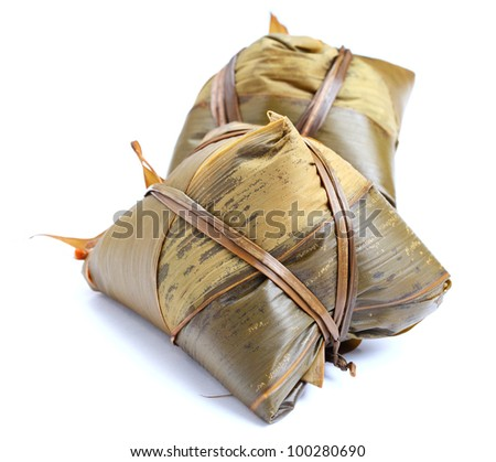 traditional rice dumpling for chinese dragon boat festival - stock photo