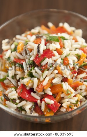 Traditional risotto with red peppers - stock photo