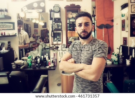 Traditional ritual of shaving the beard in a old style barber shop.
