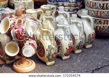 traditional romanian handmade ceramic products - stock photo
