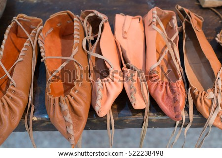 traditional romanian peasant leather shoes