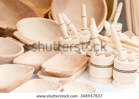 Traditional romanian wooden kitchenware