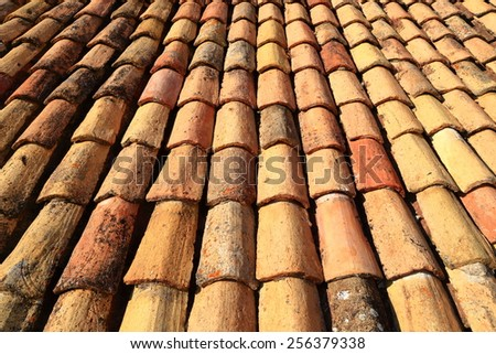 Traditional rooftop covered with ceramic tiles, Dubrovnik old town, Croatia - stock photo