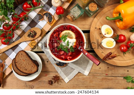 Traditional russian and ukrainian borscht soup - stock photo