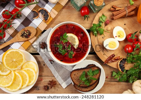 Traditional russian and ukrainian borscht soup - stock photo