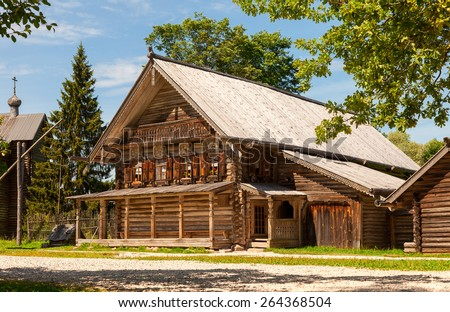 Traditional russian old wooden house in the ancient town of Novgorod, Russia - stock photo