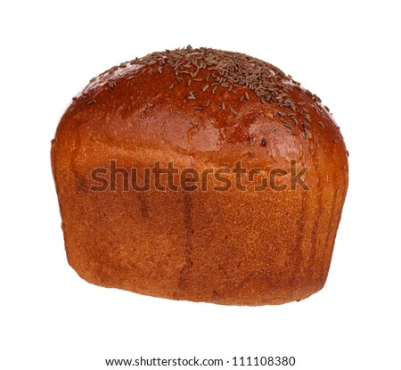 Traditional rye bread with caraway seeds isolated on white background