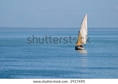 Traditional sail boat called a dhow, Vilanculos coastal sanctuary, Mozambique