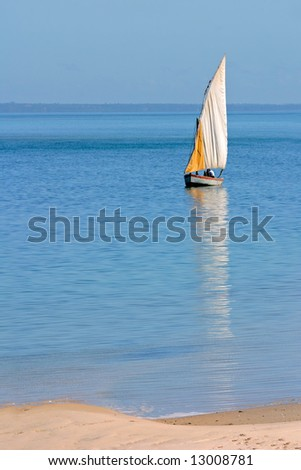 Traditional sail boat (dhow), Vilanculos coastal sanctuary, Mozambique, southern Africa - stock photo