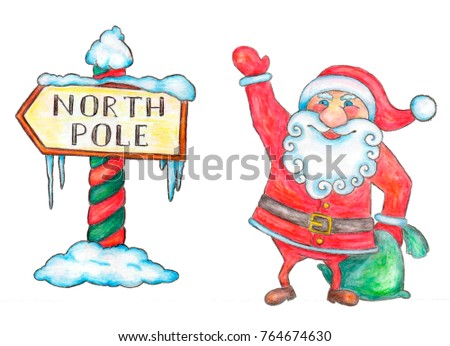 Traditional Santa Claus and North Pole pointer isolated over white