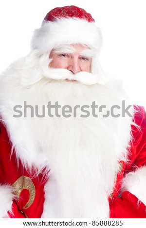 "Traditional Santa Claus giving a big ""ho ho ho"" belly laugh. Isolated on white."