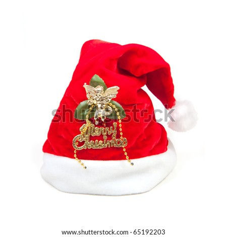 Traditional santa claus hat on white background - stock photo