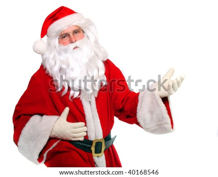 Traditional Santa Claus singing - studio shot. Great for Christmas brochures and advertisements