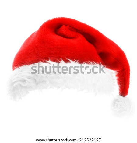 Traditional Santa hat isolated on white
