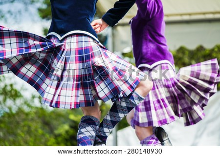 Traditional scottish Highland dancing - stock photo
