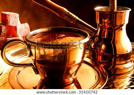 Traditional serving of Mediterranean coffee. - stock photo
