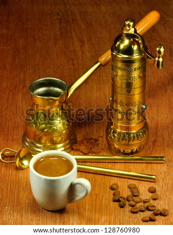 Traditional set for arabic and greek coffee making