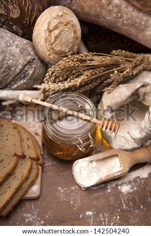 Traditional set of bread, loaves and other ingredients