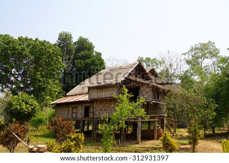 Traditional Shan house on stilts in rural village near  Hsipaw,  Myanmar (Burma)