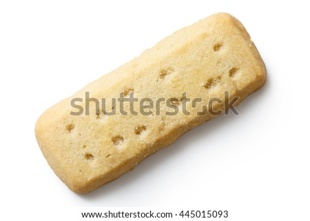 Traditional shortbread finger biscuit isolated on white from above.