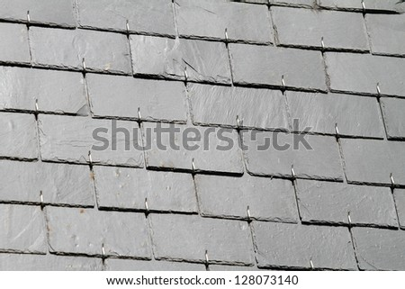 Traditional slate roof, Brittany, France - stock photo