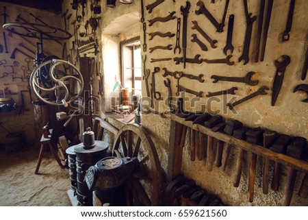 Traditional smithy workshop interior