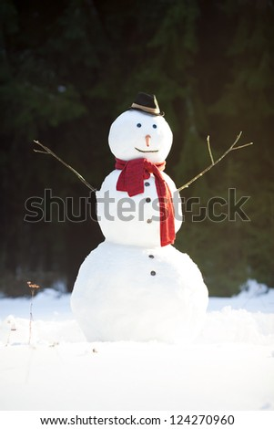 Traditional snowman wearing red scarf and black hat with carrot nose, sunny winter day in forest - stock photo