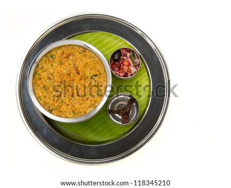 traditional south indian sambar rice served authentically - stock photo