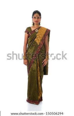 traditional south indian tamil woman with isolated white background full body - stock photo
