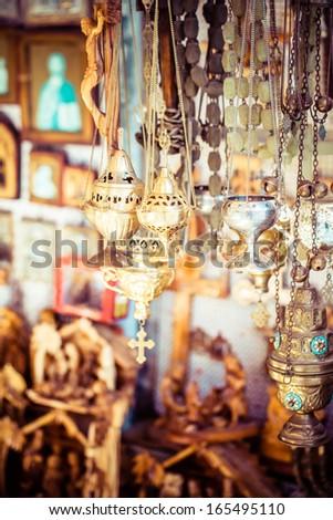 Traditional souvenirs. Via Dolorosa street market, Jerusalem Old City, Israel. - stock photo