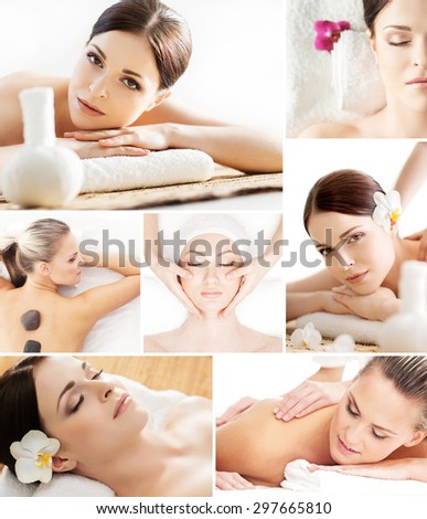 Traditional spa concept. Wellness, massage and skin care collage. - stock photo